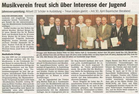 Jahreshauptversammlung 2010, Main-Echo v. 27.03.2010