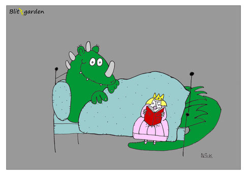 Menschenkenner-Mkt. Nick Blitzgarden Cartoon Märchen Drache und Prinzessin