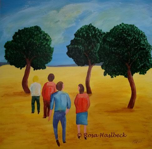 Acrylbild, acryl,menschen, spaziergang, baum, bäume,blau, gelb, grün, rot, bild, malen, malerei, kunst, deko, dekoration, wandbild,