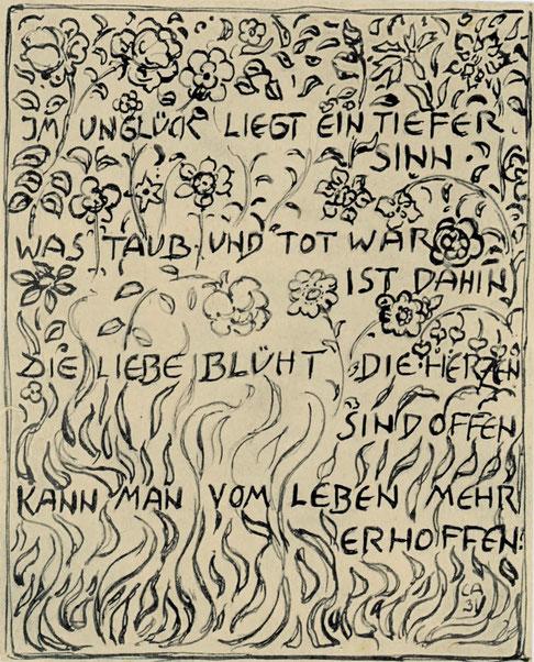 Cuno Amiet, gestaltete Karte zum Verlust der verbrannten Bilder beim Brand des Münchner Glaspalastes, 1931