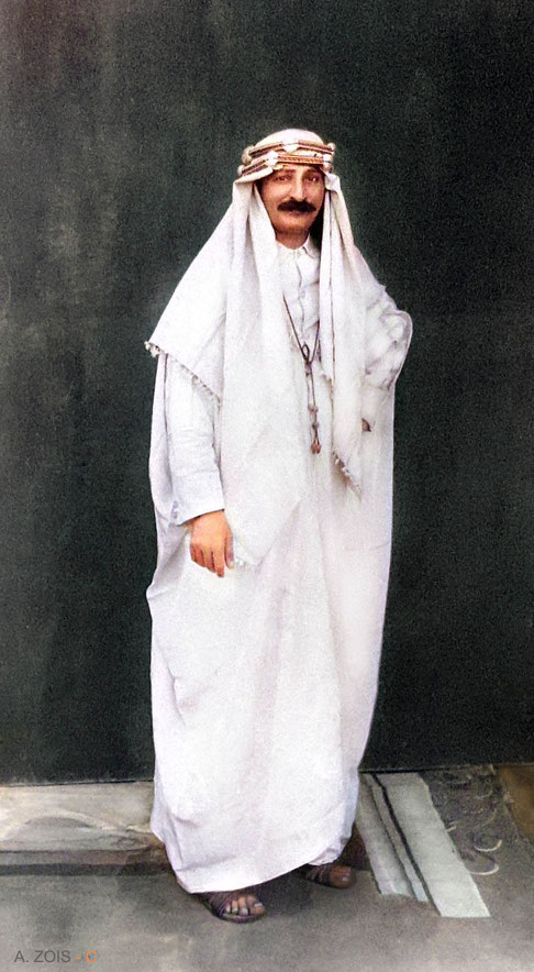 Colourized photo of Meher Baba wearing Arabian clothing by Anthony Zois.