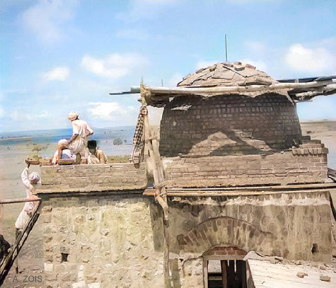 August 1938 : Meher Baba's Tomb under construction. Image colourized by Anthony Zois.