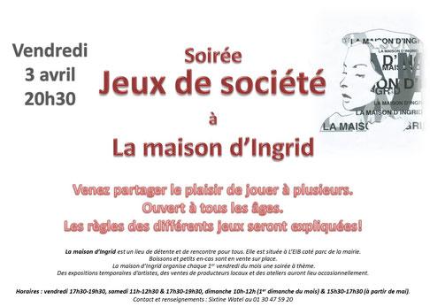 """Flyer pour la soirée """"Jeux de société"""" à la Maison d'Ingrid de Choisel (MIC)"""