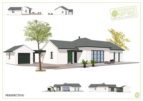 maison de plain pied traditionnelle avec garage séparé couverture en ardoise et enduit blanc