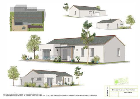 maison  traditionnelle de plain pied avec un enduit blanc et une avancée toiture terrasse