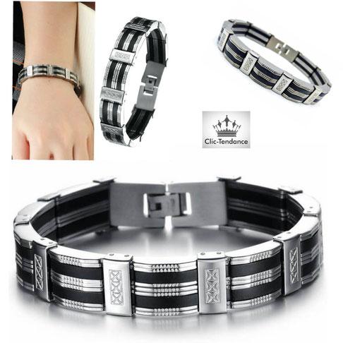 bracelet mode homme acier inox gravé et noir