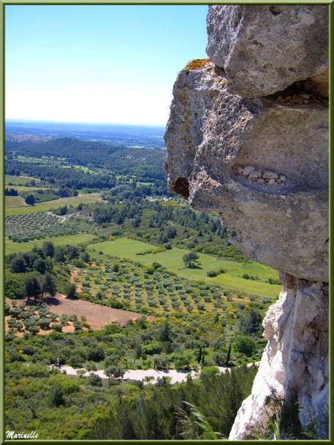 Vue panoramique sur la vallée (oliveraies, ajoncs en fleurs...) depuis l'esplanade du château, Château des Baux-de-Provence, Alpilles (13)