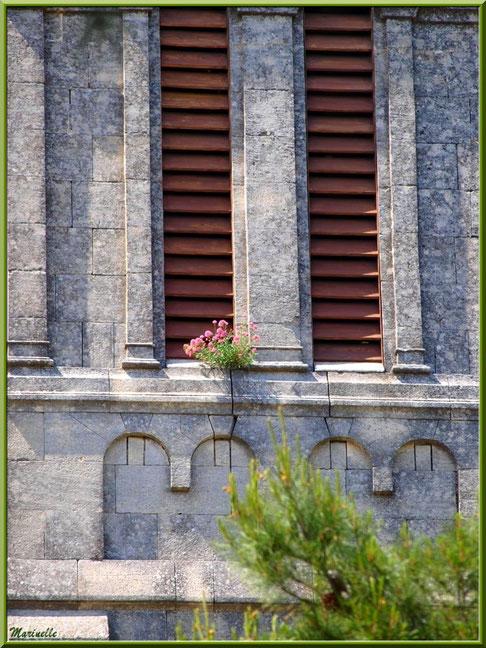 Chapelle Notre Dame de Beauregard, village d'Orgon, entre Alpilles et Lubéron (13) : détail du clocher avec son pied de Valérianes en fleurs acrroché aux pierres