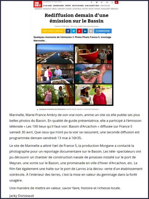 """Article site internet Journal Sud-Ouest le vendredi 13 mai 2016 sur Marinelle et le passage sur TV5 de l'émission """"Les 100 lieux qu'il faut voir"""" consacrée au Bassin d'Arcachon"""