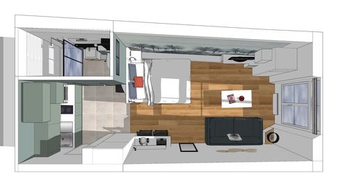Studio vue 3D, rénovation studio, studio parisien 3D, vue 3D studio, rénovation appartement, Studio 22m2
