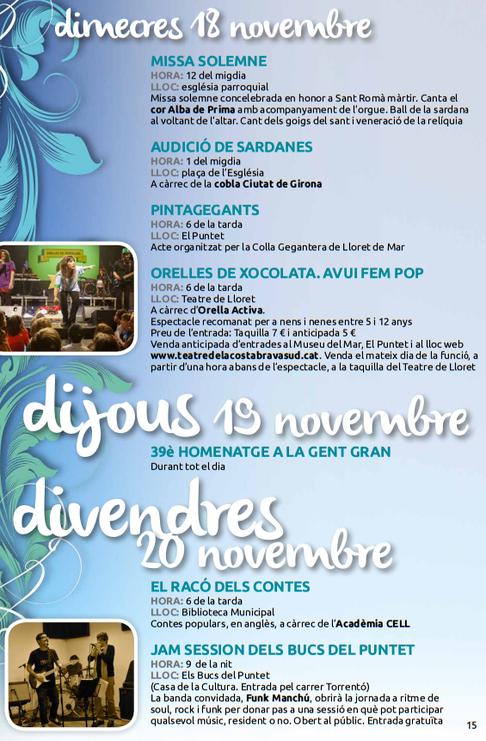 Programa de la Festa Major de Lloret de Mar 2015