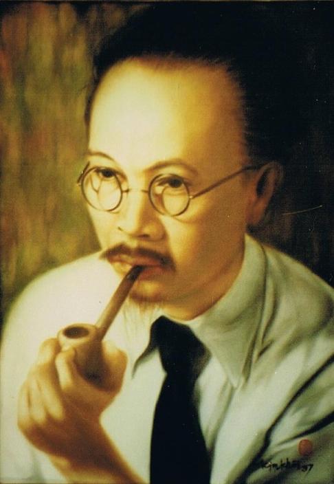 PORTRAIT DE NAM SON PAR SON PETIT-FILS NGÔ KIM-KHÔI. HUILE SUR SOIE 50 X 65cm.   1997.