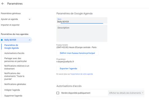 parametres google agenda