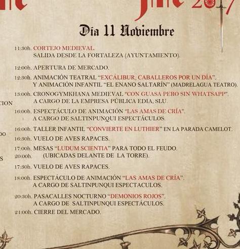 Programa del Mercado Medieval de San Bartolomé de la Torre