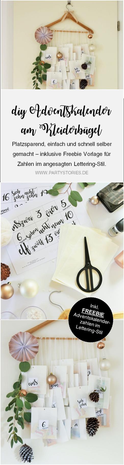 DIY Adventskalender Idee mit Kleiderbügel und Papiertüten, inklusive  Freebie Zahlen zum ausdrucken im angesagten Lettering-Style; gefunden auf www.partystories.de
