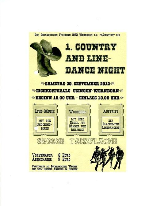 Das Plakat für die Line Dance Night in Wwernborn 2012
