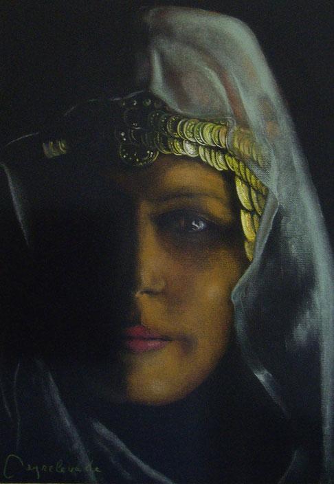 Egyptienne, pastel 40x28 sur papier Ingres noir, Ingres, Flaubert, voyage, lettres,
