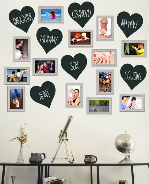 Family love hearts photograph framed wall. The vinyl love hearts adds an extra dimension and a personalised touch to this unique and fun decorating style. The hearts come in lots of colours and sizes from www.wallartcompany.co.uk