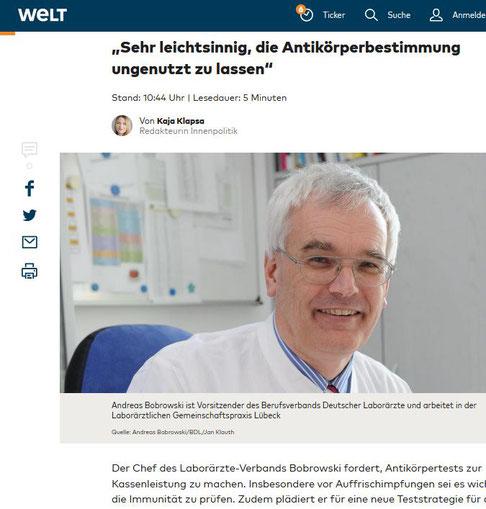 Screenshot Welt.de - Welt Online, Nachrichtenportal der Welt Gruppe (Axel Springer SE)