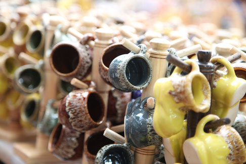 In the stores were plenty of different ceramic arts in all colours and shapes.