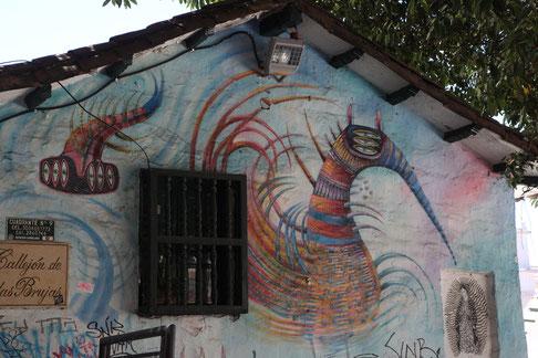 "Graffiti decorates the old buildings in the quarter ""La Candaleria""."