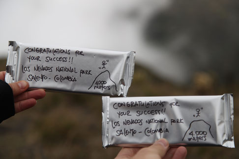 A gift from Sebastian, Colombian chocolate because we reached the 4 000 meters!