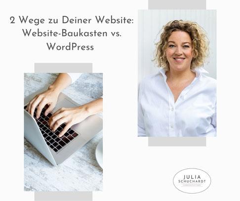 Grafik zum Blog-Artikel 2 Wege zu Deiner Website: Website-Baukasten vs. WordPress