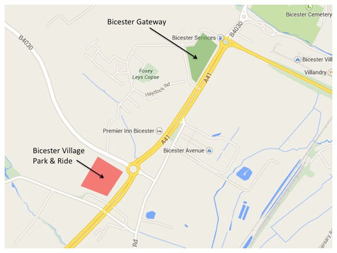 Locations of Bicester Gateway (green) and Bicester Village Park & Ride (red) facility.
