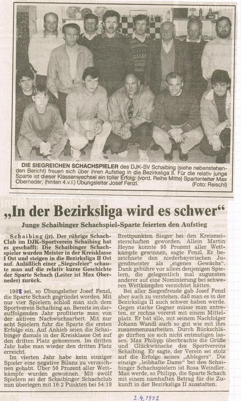 1992 Meister in der Kreisklasse Ost, Aufstieg in die BZL II Ost