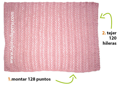 Paso a paso: cómo tejer una manta con tablillas caladas en dos agujas o palitos