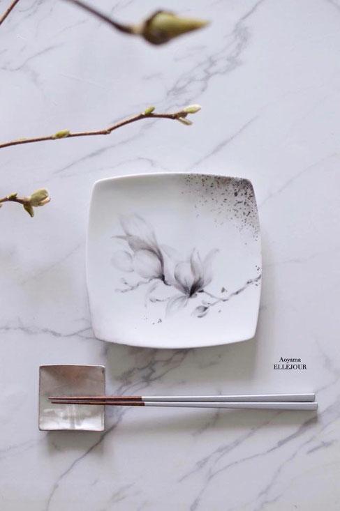 ポーセラーツ水墨画レッスンマグノリア