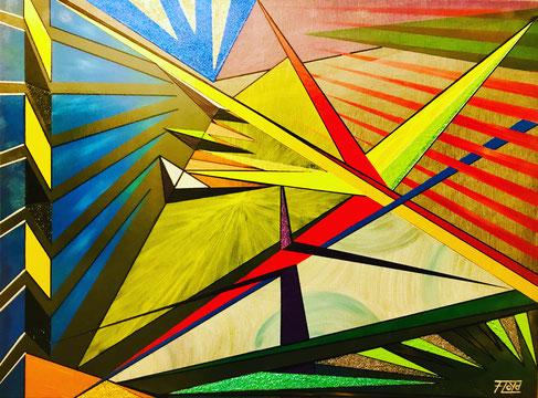 Den Blick auf einer bestimmten Stelle dieser abstrakten Arbeit rohen zu lassen, ist schier unmöglich. Helle Gelbtöne ziehen die Aufmerksamkeit wieder und wieder auf sich. Blau, Rot, Schwarz und Weiß unterstreichen die geometrischen Formen.