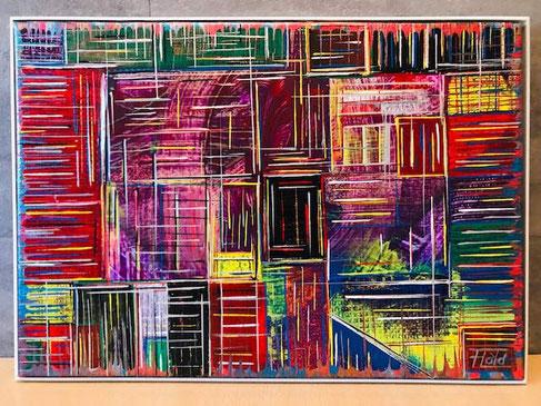 Scheinbare Ordnung von Farben und Linien. Genauere Begutachtung zeigt die Unterschiedlichkeiten jeder einzelnen Elemente. Bunte Vielfalt mit schmaler hölzerner Rahmung.