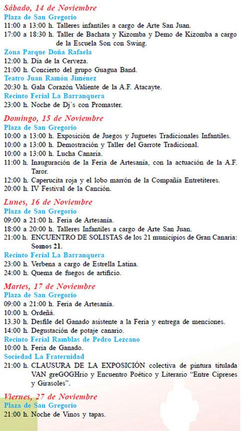 Programa de las Fiestas de San Gregorio en Telde