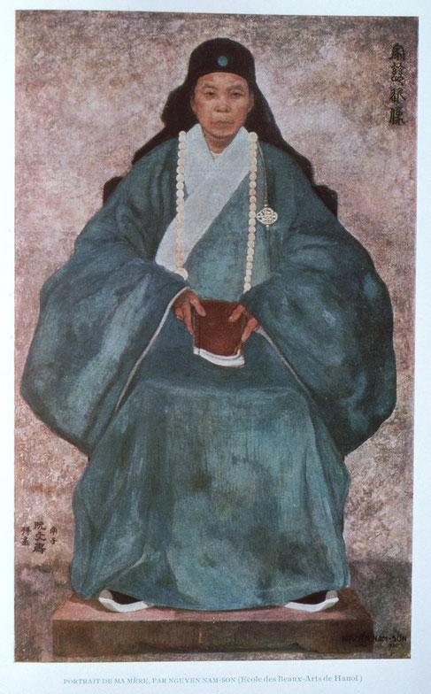 """1930. """" PORTRAIT DE MA MERE """" MEDAILLE D'ARGENT 1932 DU SALON DES ARTISTES FRANçAIS. Col. Mr. SAMBUC.d'après A.N.BEUN Rénovation de l'Art vietnamien. ORIENT-OCCIDENT,N°5, Nov. 1952. P.67. En fait on ne sait plus rien de ce tableau ni de M. Sambuc."""