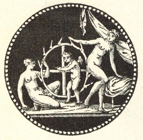 Das Glücksrad. Antike Graphik.