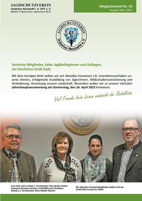 Jagdschutzverein Hubertus Neumarkt e. V. Mitgliederbrief Nr. 19