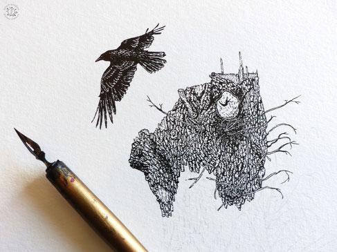 kitsc-paradise kp exposition encre de chine gravure corbeau trogne instant sauvage