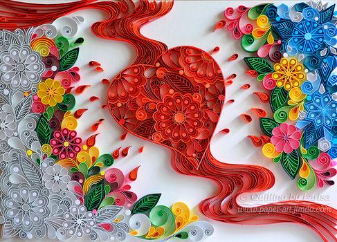 quilling , quilling paper, paper art, art, love, love artwork, for her, etsy, larisa zasadna, design, love heart, hearts, quilling art, quilling paper art
