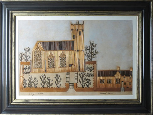 19th century folk artl straw work picture of Conway Church, Wales