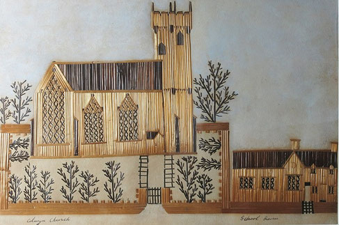 19th century folk art straw work picture of Conway Church, Wales