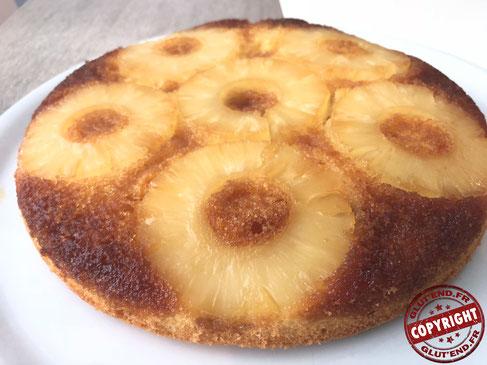 gâteau renversé à l'ananas sans gluten sans lactose
