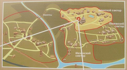 Lageplan des Malye Korely Freilichtmuseums bei Arkangelsk