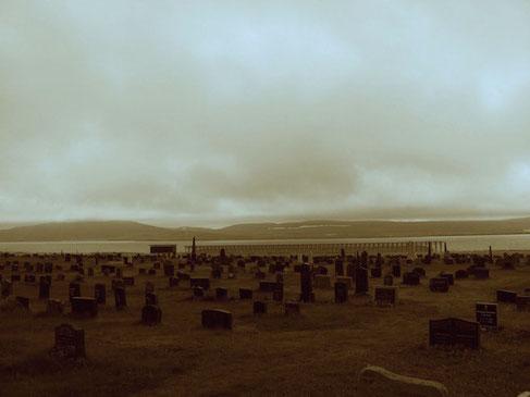 Friedhof Vardøs mit Steilneset im Hintergrund.