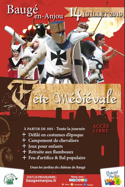 Fête médiévale de Baugé le 14 juillet 2019