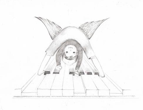 Ein kleiner frecher Engel tanzt auf den Klaviertasten.