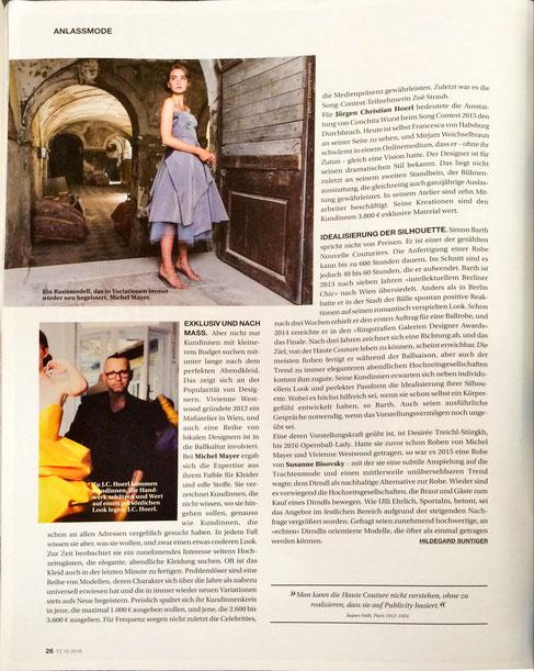 Juergen Christian Hoerl in der Mai-Ausgabe der österreichischen Textilzeitung Fashion Designer