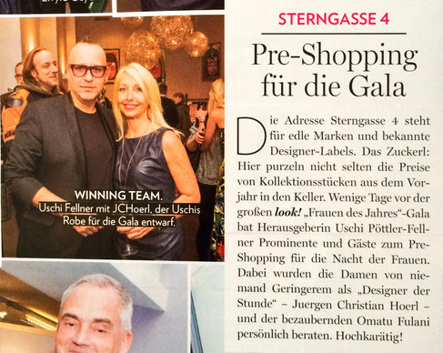 Designer Juergen Christian Hoerl with editor Uschi Fellner - Gala Fashion