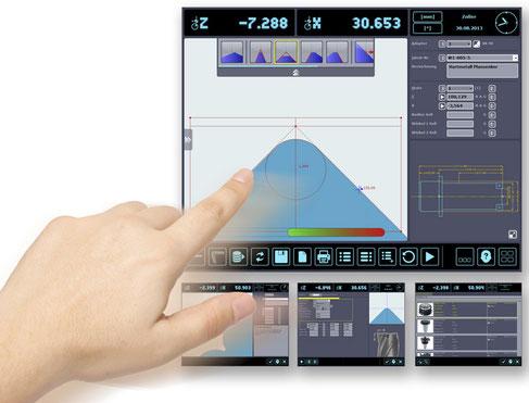 La tecnología de pantalla táctil, de manejo intuitivo, establece nuevos estándares en el desarrollo de dispositivos de ajuste y medición de fácil de uso.