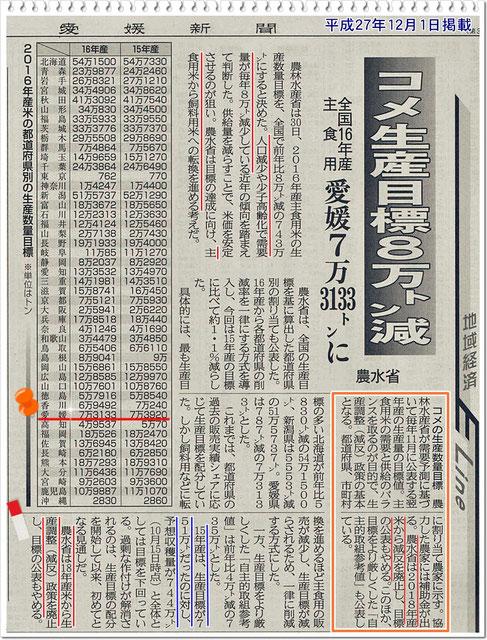 愛媛新聞 2015年12月1日掲載記事より!